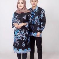Batik Couple Atasan Wanita Tunik dan Pria Lengan Panjang Marsya Biru
