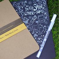 Paket Ekslusif Note book kertas hitam dan pulpen putih
