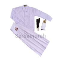 setelan seragam perempuan putih baju panjang rok panjang set lengkap!!