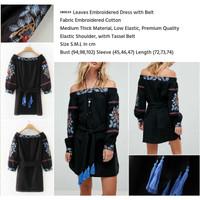 Embroidered Black Dress with Belt/ Sabrina (s,m,l)