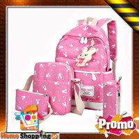 1 SET DAPAT 4 TAS Ransel Sekolah Anak Remaja SD SMP SMA Bunny Backpack - Hitam