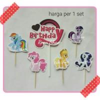 topper toper hiasan kue birthday hbd karakter kuda poni my little pony