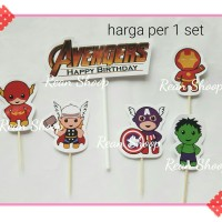 topper toper hiasan kue ulang tahun birthday karakter avenger avengers