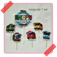 topper toper hiasan kue ultah birthday karakter tayo the little bus