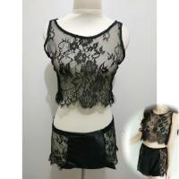 L-1421 - Lingerie Black Flower Transparent Elegance