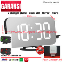 Jam Meja Digital - Jam Weker - Alarm - LED Smart Clock - Putih