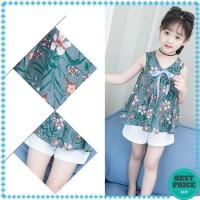 Setelan Blus Tanpa Lengan Motif Print Bunga   Celana Pendek untuk