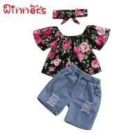 3pcs Baby Girls Off-shoulder Floral Print Blouse Denim Shorts Suits