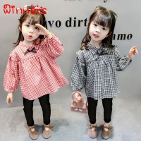 Autumn Baby Girls Plaid Print Blouse  Trousers Casual Outfits Set