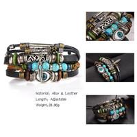 Gelang gaul pria dan wanita Multilayer Leather Bracelet 029