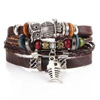 Gelang gaul pria dan wanita Multilayer Leather Bracelet 028