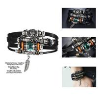Gelang gaul pria dan wanita Multilayer Leather Bracelet 030