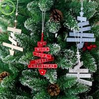 Ornamen Gantung Bahan Kayu untuk Dekorasi Pintu Pesta Natal