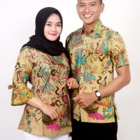 Batik Couple Atasan Wanita Blus dan Pria Lengan Pendek Merak Mocca