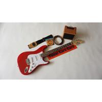 Gitar Listrik Fender Stratocaster Merah Paketan