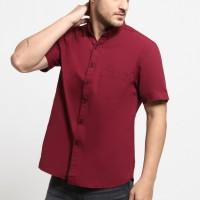 MENTLI Kemeja Pria - Solid Red Casual Shirt