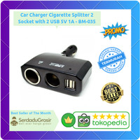 Car Charger Cigarette Lighter Splitter 2 Socket with 2 USB 5V 2.1A