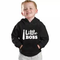 sweater anak hoodie bahan tebal - Size S, Hitam