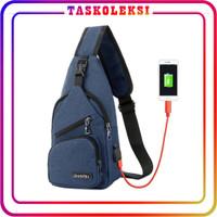 TK P005 Tas Selempang USB SlingBag HP Pria Slempang Murah Import Korea