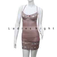 Dark Cream Virza Sexy Nightdress Lingerie + Gstring (Bra Berkawat)
