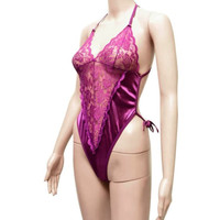 KARINA Sexy Lingerie Lace Teddy Purple Renda Ungu HOT Termurah