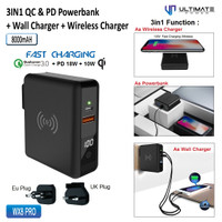 Ultimate Power WX8 Pro 3in1 QC PD Powerbank & Wireless + Wall Charger