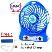 Kipas Angin Mini Portable + Lampu LED Emergency USB Charger