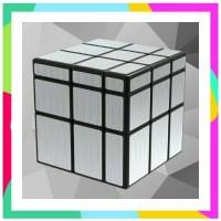 Rubik Mirror 3x3 Silver Black Base Qiyi Magic Cube