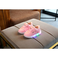 Sepatu Anak Sneakers Perempuan Lampu Led Kualitas Import Warna Pink