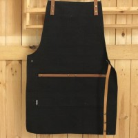 HOT SALE Apron Canvas and Synthetic Leather Celemek Barista Chef BLACK