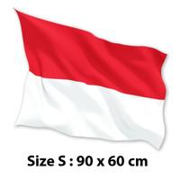 FLASH SALE BENDERA INDONESIA MERAH PUTIH 90 x 60 cm (S) Satin 100%