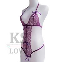 KAYLA Sexy Lingerie Lace Teddy Purple Renda Ungu HOT Termurah