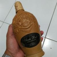 Botol kendi tanah liat keramik ark bali lawas ukir relief barong utuh