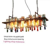 L678/3L ( 16 bottol) lampu gantung botol vintage hias lighting rusty