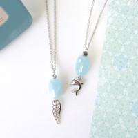 Gentle Aqua Necklace // Kalung Batu Aquamarine Crystal + Wing/Dolphin