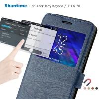 Casing Flip Case Bahan Kulit untuk Blackberry keyone