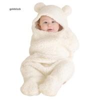 GDCK Cute Bear Style Newborn Baby Infant Coral Velvet Swaddle Blanket