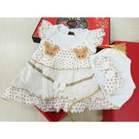 SETELAN SET 3PCS DRESS PESTA BAYI & ANAK BABY NEWBORN GIRL ROK KATUN