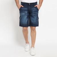 Papperdine 8837 Shorts Indigo Cargo Celana Pendek Jeans Pria
