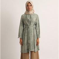 KAMI IDEA DRESS BLOUSE Rue Atasan Muslim - Fog Green/Dusty Coral L
