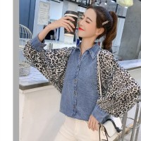 Baju Atasan Blouse Korea White Leopard denim (M) Import