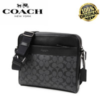 Coach Charles In Signature Black Canvas Messenger Bag 100% AUTHENTIC!