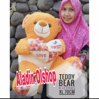Boneka Teddy Bear Love Keriting Jumbo