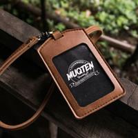 Name Tag ID Card Holder Patuk Kalung Premium ID Badge Leather