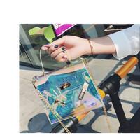 Tas Selempang wanita Transparan Metalic Hologram TM02 Kotak hand bag