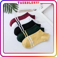 TK R098 Kaos Kaki Garis Korea Ankle Cute Semata Short Socks Pendek