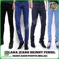 celana jeans denim pria model skinny pensil panjang