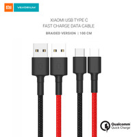 Xiaomi USB Type C Fast Charge Data Cable Braided 100cm Kabel Tipe C