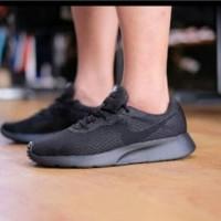 Sepatu Nike Tanjun Asli ORIGINAL full All Black Hitam polos