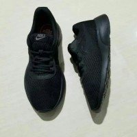 Sepatu Ori Nike Tanjun ORIGINAL full All Black Hitam polos pria wanita